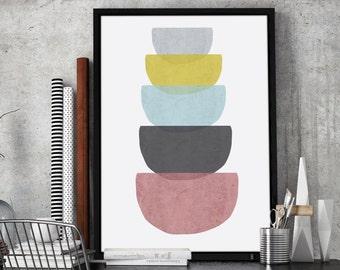 Geometric Concrete Bowls Printable Wall Art | Geometric Large Print 24 x 36 inches
