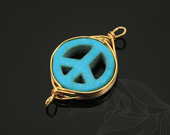 G544-20pcs-Gold Plated-turquoise peace