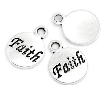 """5 Antiqued Silver """"Faith""""  Charms"""