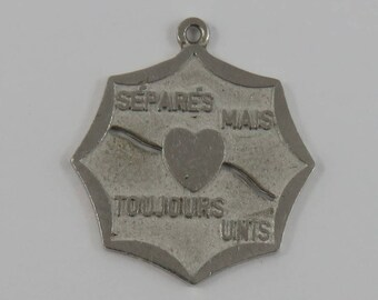 Separes Mais Toujours Unis - Separated But Always United Sterling Silver Vintage Charm For Bracelet