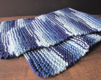 Wool - blue scarf / Hand Knilled Scarf - Blue