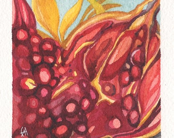 Mini Watercolor Painting Abstract Surreal Pomegranate - Maroon