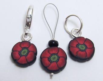 Poppy Flower Stitch Markers, Set of Three or Six, Red & Black, Polymer Clay Cane, Handmade Supply, Knit Crochet Gift