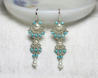 PDF Tutorial - Devi Earrings Instant download Beadweaving Instruction Beading Pattern