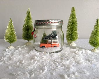 Ford Bronco Truck Mason Jar Snow Globe