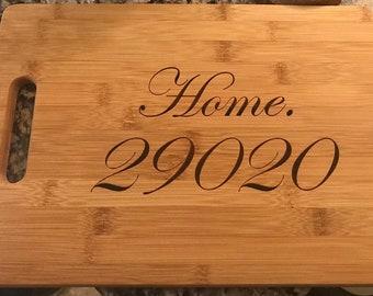 Zip code Home Bamboo Cutting Board