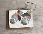 Hanging Ornament Card - Winter Mittens Collage Card 2017