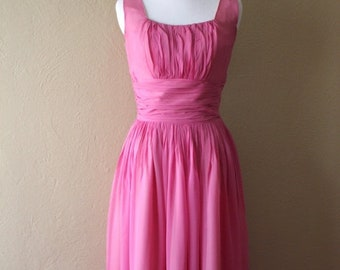 BIRTHDAY SALE Vintage Jay Herbert Pink Chiffon Fit and Flare Party Dress