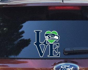 Love Seahawks-Vinyl Car Decal-Seattle Football-Coffee Mug-Mac Book-Sticker