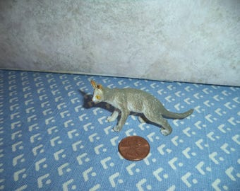 1:12 scale Dollhouse miniature gray and white cat