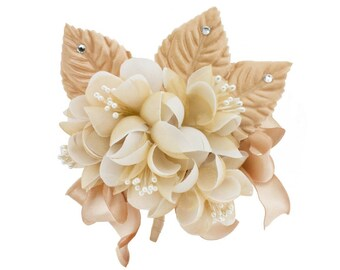 Bouquet of flowers satin organza champagne