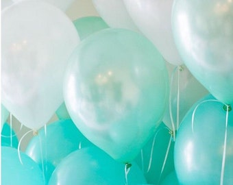 Light Blue Robin's Egg Ombre Blue Mix Latex Balloons Made in USA Big Balloon Wedding bridal party  shower baby
