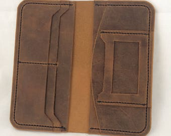 Womens leather long wallet, genuine oil tanned leather , Crazy Horse