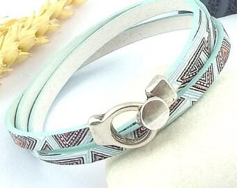 leather bracelet tutorial Kit prints art deco green aqua silver plated clasp