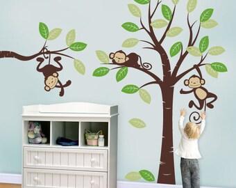 Wall Decals, Three Monkeys and tree - Nursery Wall Décor