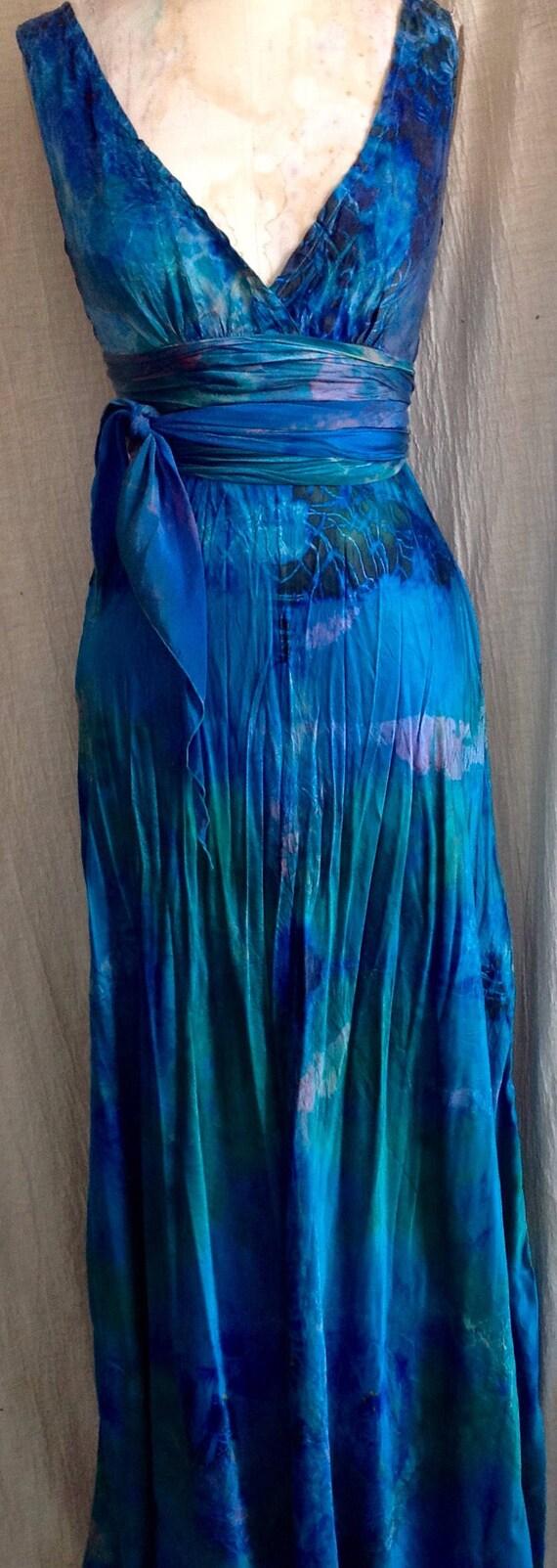 Ozean Blau grün Seide Hochzeit Kleid Boho schicke Mutter von