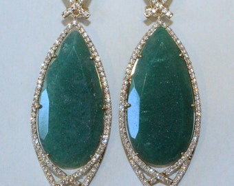 Green Natural Stone Earring