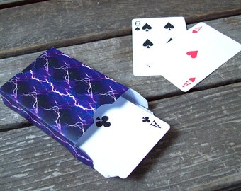Printable Playing Card Favor Box Purple Lightning
