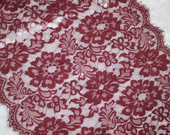 "3.25 yards burgundy Maroon scalloped eyelash NON stretch lace trim 15.5"" wide"