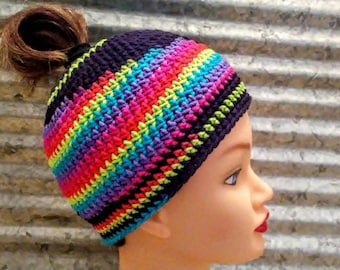 Messy Bun Hat, Ponytail Beanie, Neon Rainbow, Hot Colors, Black, Ready to Ship