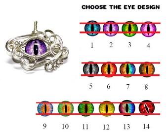 Custom Glass Eye Pendant - Wire Wrap Dragon Eyeball Pendant - Pick your Eyeball Design