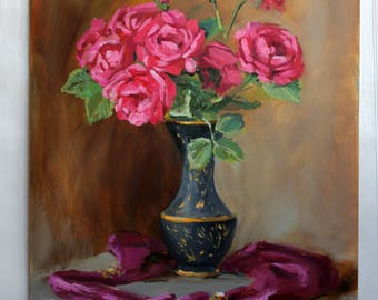 Pink red roses Original painting art Roses bouquet art Flowers oil painting Gift ideas for women Rose still life Hand painted Flower in vase