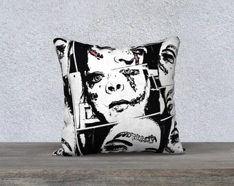 Pillow Cover, Pillow Case, Cushion Cover, Polyester Pillow Cover 18x18 or 22x22 - Black and white broken doll design by Felicianation