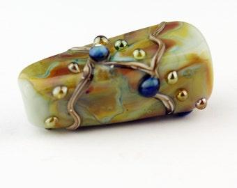 Lampwork Glass Bead Focal Art Deco Iridescent Blue Green Gold