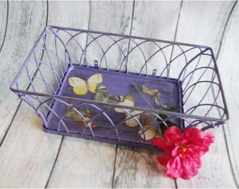 Basket Hanging Metal, Purple Butterfly Flower Basket, Rustic Cottage Chic, Distressed, Hand Painted, Decoupaged, Shabby READY TO SHIP