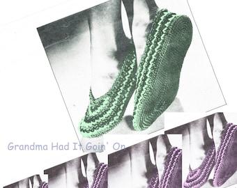 Vintage Slippers - House Slippers - Crochet Shoe Pattern - Vintage Pattern - PDF Instant Download - 50s Slip Ons - Digital Pattern - Vtg