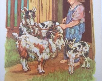 Bobby and His Goats - A Clara M Burd Vintage Print 1930s Childrens Book Print