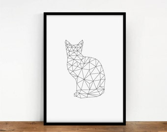 Cat Print, Animal Wall Decor, Digital Cat, Meow Wall Art, Geometric Digital Art, Printable Art, Geometric Animal, Digital Print, Kitten