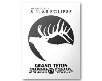 Grand Teton National Park Solar Eclipse 2017 Poster
