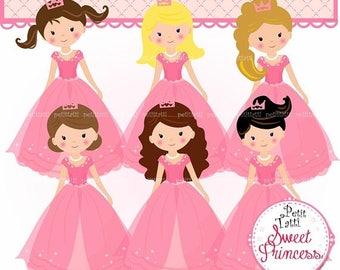 ON SALE Princess Clip Art / Pink Princesses Clip Art. Fairytale Princess Clip Art,Fairy Tale Princess Clipart,Girls Clip Art,Pink