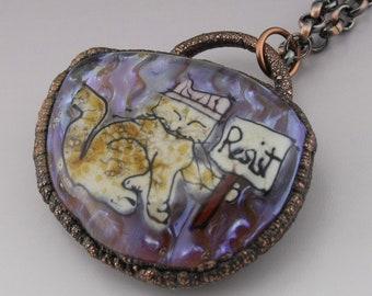 SRA Lampwork Pendant Electroformed Jewelry Copper Necklace Resist Cat Rustic Necklace Handmade OOAK Art Glass Me too Heather Behrendt 6053