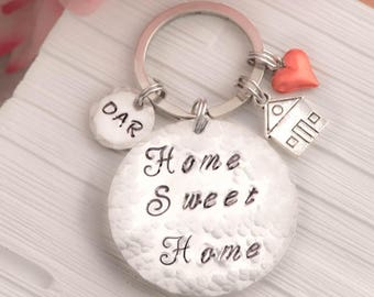 home sweet home keychain gift for home owners, new home gift, House Keychain, coordinates keychain, moving gift, new home key ring