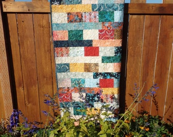 Lap Quilt, Fall, Quilt, Batik Fabrics, Throw, Autumn Quilt, Orange, Blue, Yellow, Red, FREE SHIPPING