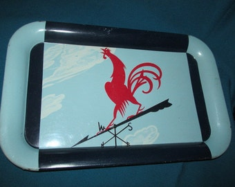 Set of TWO Vintage Mid Century Metal Serving Tray - Red Rooster