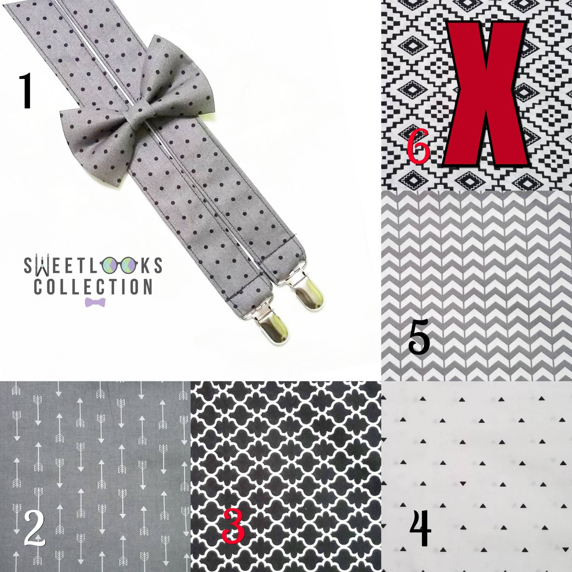 Suspenders and Bow Tie. Grey Black White Patterns. Wedding