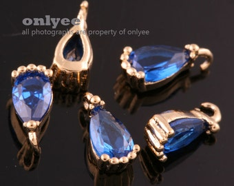 4pcs-7.5mmX3.5mmSmall Bright Gold Faceted tear drop Cubic with rim Charms-Montana(M388G-E)