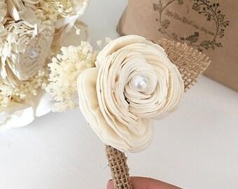 Rustic boutonniere | sola flower boutonniere | burlap boutonniere | rustic button hole | rustic wedding | burlap sola flower | beach wedding