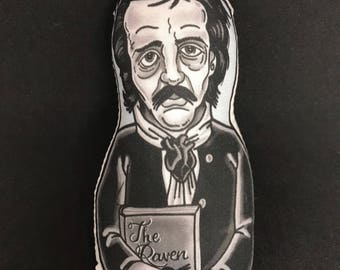 Edgar Allen Poe Inspired Plush Doll or Ornament