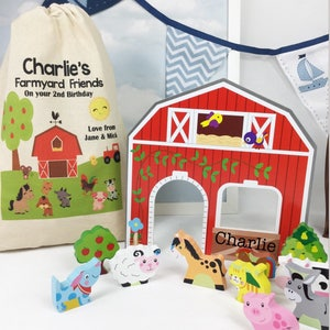 First  birthday gift, gift for 1st birthday , Toddler gift,  wooden farm , personalised  toy, personalised gift , Farm toy.