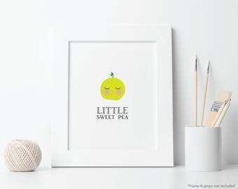 Little Sweet Pea Nursery Art Printable - Sweet Pea baby, kid's room, child decor, baby room wall decor