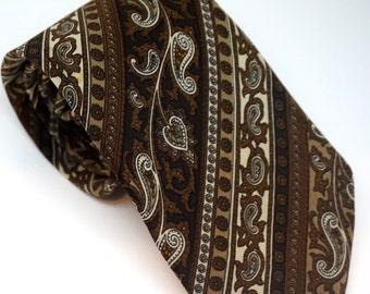 Cravate Paisley soie marron Vintage, Designer Ted Lapidus Paris cravate, accessoires Boho unisexe