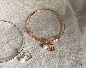 Rose gold Anchor Bangle Bracelet, anchor bracelet, silver bracelet, bridal jewelry