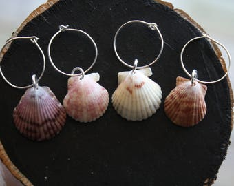 Scallop Shell Wine Tags (set of 4)