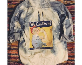 We Can Do It! Rosie The Riveter DIY Distressed Denim Shirt - L