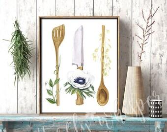 Kitchen wall art, Kitchen printable, Kitchen print, Kitchen decor, Watercolor Kitchen Utensils, Rustic kitchen, Kitchenware illustration