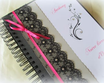 Wedding guestbook chic lace black and Fuchsia rhinestones